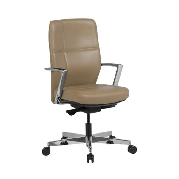 Работен офис стол от естествена кожа в бежов цвят
