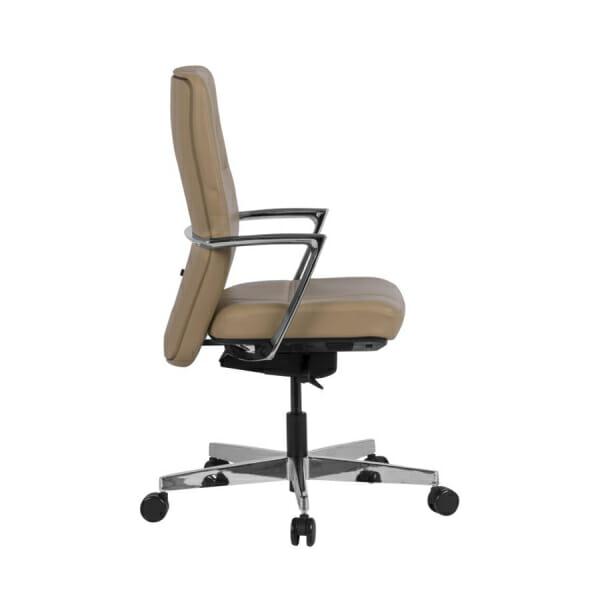 Работен офис стол от естествена кожа в бежов цвят - странично
