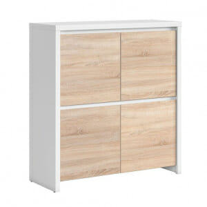 Шкаф с 4 вратички Каспиан Дъб сонома с бял корпус