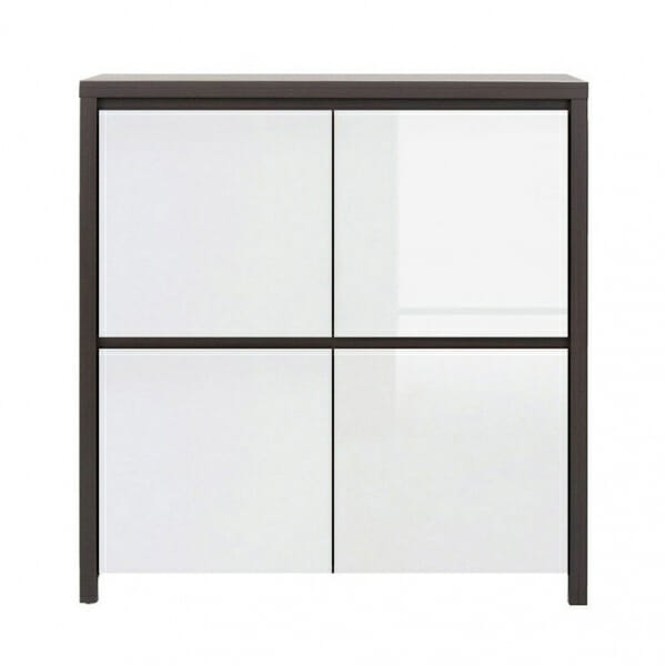 Шкаф с 4 вратички Каспиан Венге с бял гланц