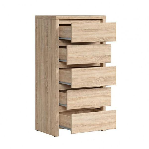 Скрин с 5 чекмеджета Каспиан Дъб сонома - разпределение