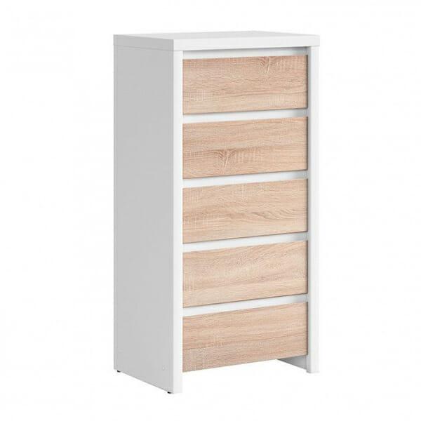 Скрин с 5 чекмеджета Каспиан Дъб сонома с бял корпус
