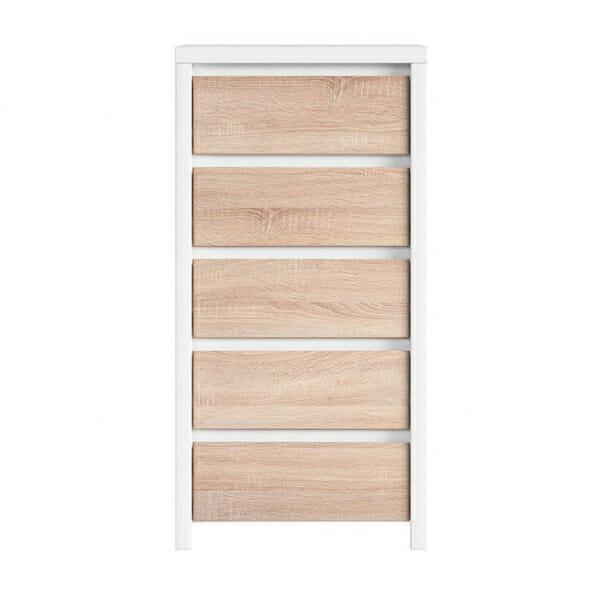 Скрин с 5 чекмеджета Каспиан Дъб сонома с бял корпус - отпред