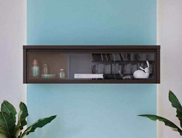Стенен шкаф витрина в тъмен цвят Каспиан Венге - декор