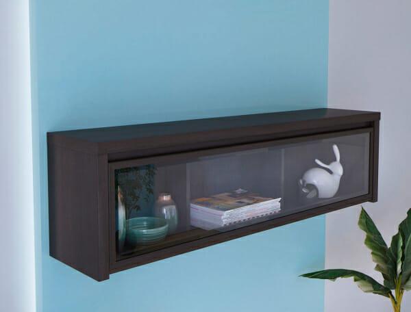 Стенен шкаф витрина в тъмен цвят Каспиан Венге - идея за декор
