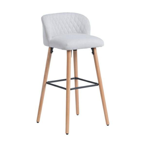 Бар стол от буково дърво и текстилна дамаска-светлосив