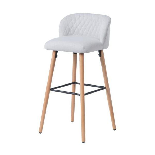 Бар стол от буково дърво и текстилна дамаска-светлосив, отдясно