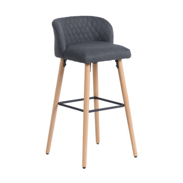 Бар стол от буково дърво и текстилна дамаска-тъмносив