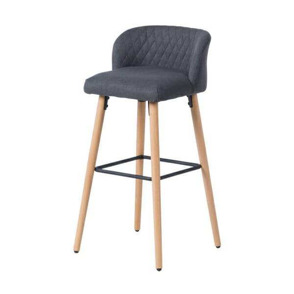 Бар стол от буково дърво и текстилна дамаска-тъмносив, отдясно