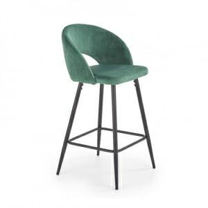 Бар стол с кадифена дамаска и метална основа - зелен