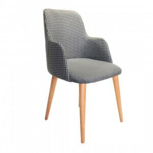 Тапициран стол с подлакътници и дървени крака-сив пепит