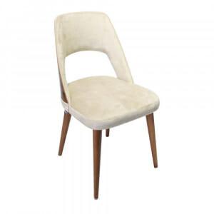 Трапезен стол от буково дърво и текстилна дамаска-бежово
