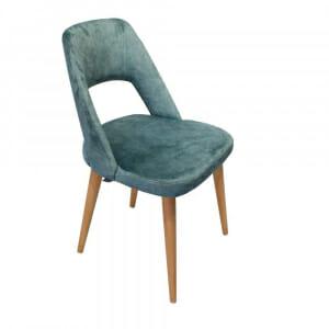 Трапезен стол с дървени крака и текстилна дамаска-тюркоаз