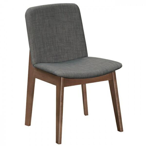 Трапезен стол с дървени крака от бук-сив