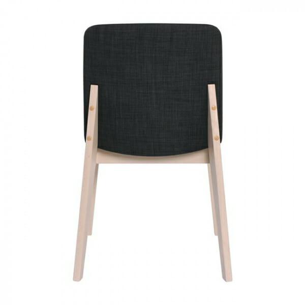 Трапезен стол с дървени крака от бук-тъмносив, отзад