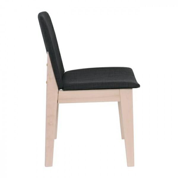 Трапезен стол с дървени крака от бук-тъмносив, странично