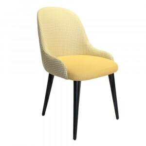 Трапезен стол с мека дамаска и дървени крака-жълт пепит