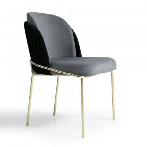 Трапезен стол с метални крака и текстилна дамаска-Вариант 1