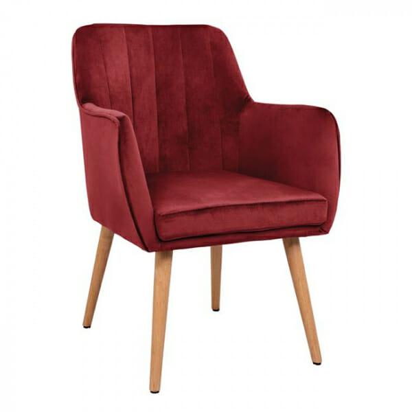 Трапезен стол с подлакътници и кадифена дамаска-червен