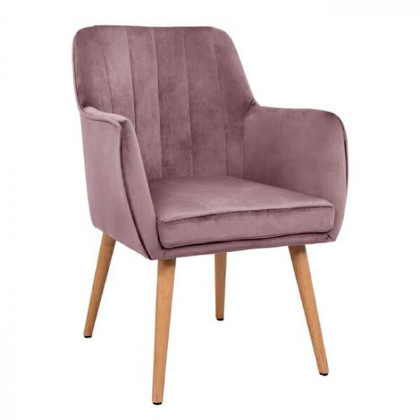 Трапезен стол с подлакътници и кадифена дамаска-розов
