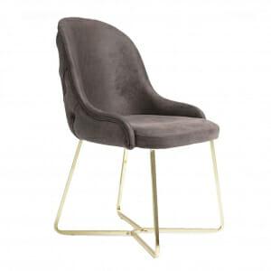 Трапезен стол в сив цвят с нестандартна метална основа