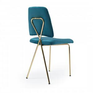Трапезен стол в тюркоазен цвят с атрактивна облегалка-отзад