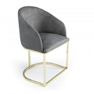 Трапезен стол в тъмносиво с метална основа