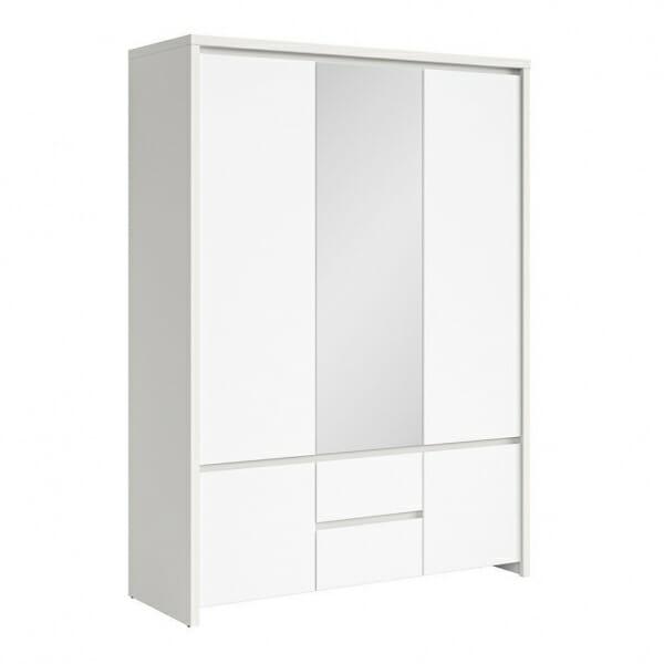Трикрикрилен гардероб с огледало Каспиан Бял