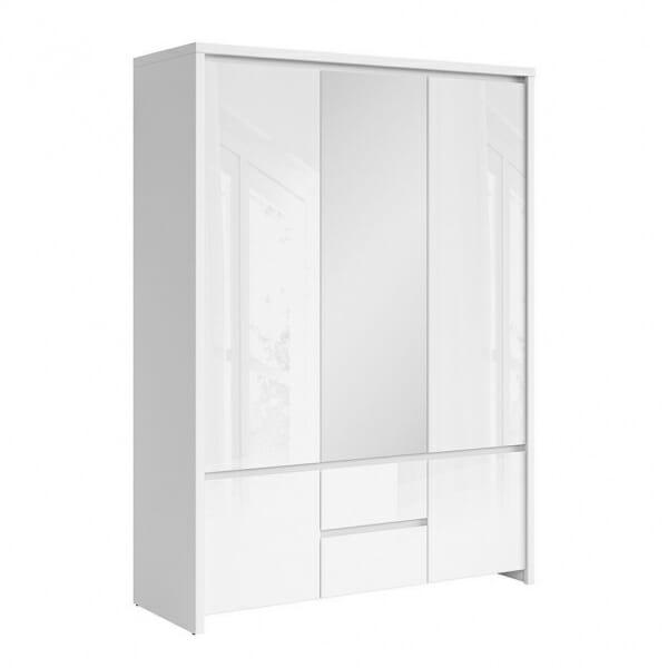 Трикрикрилен гардероб с огледало Каспиан Бял гланц