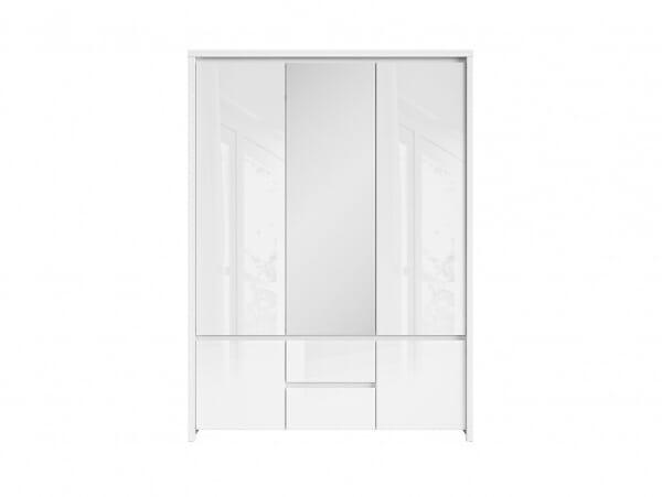 Трикрикрилен гардероб с огледало Каспиан Бял гланц - отпред