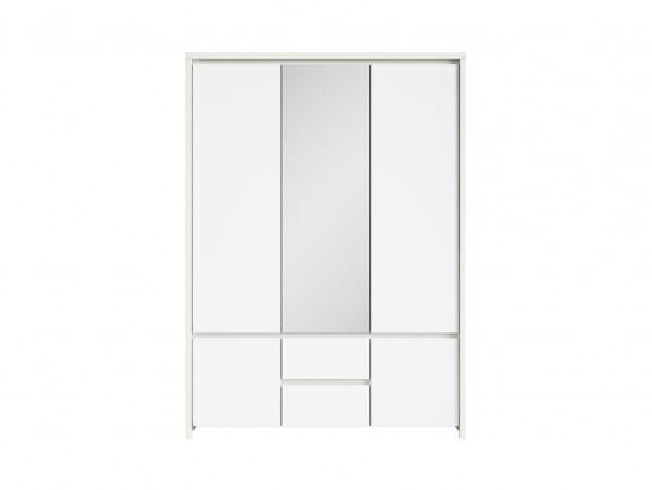Трикрикрилен гардероб с огледало Каспиан Бял - отпред