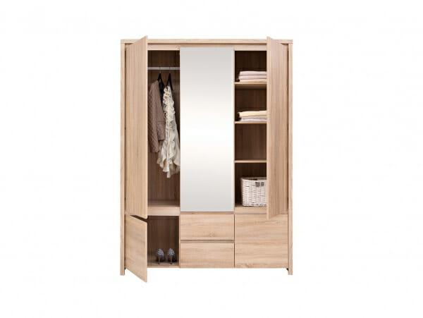 Трикрилен гардероб с огледало Каспиан Дъб - декор