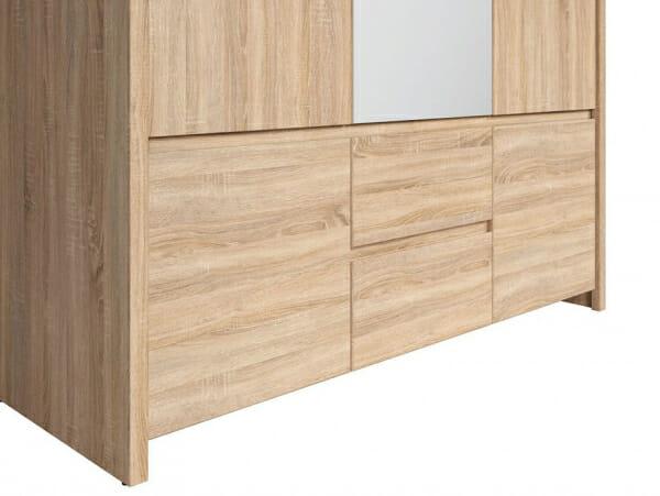 Трикрилен гардероб с огледало Каспиан Дъб - детайл