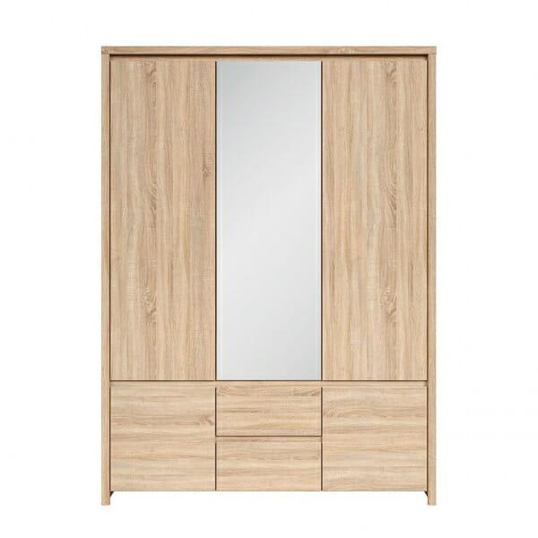Трикрилен гардероб с огледало Каспиан Дъб - отпред