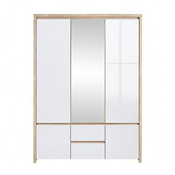 Трикрилен гардероб с огледало Каспиан Дъб с бял гланц
