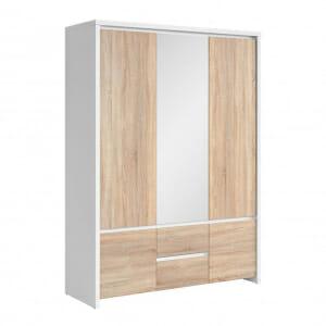 Трикрилен гардероб с огледало Каспиан Дъб с бял корпус