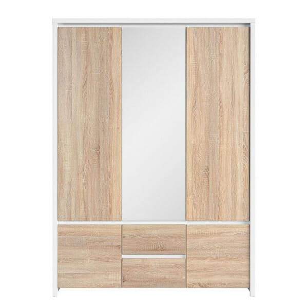 Трикрилен гардероб с огледало Каспиан Дъб с бял корпус - отпред