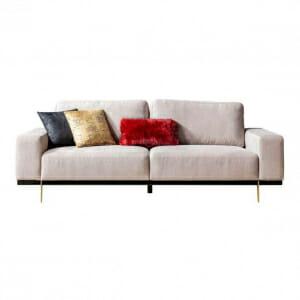 Триместен диван в бежов цвят с две възглавнички Madi Lux