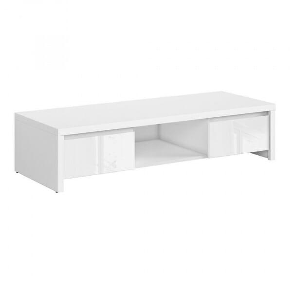 ТВ шкаф с 2 чекмеджета Каспиан Бял - бял гланц