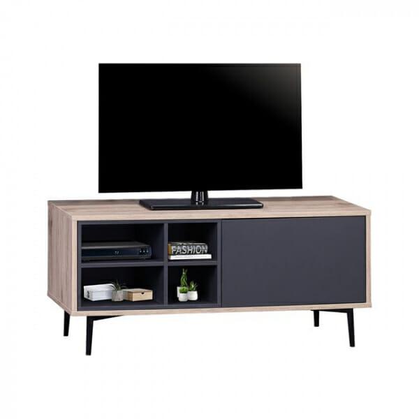 ТВ шкаф с 4 рафта, вратичка и метални крачета серия Гросо