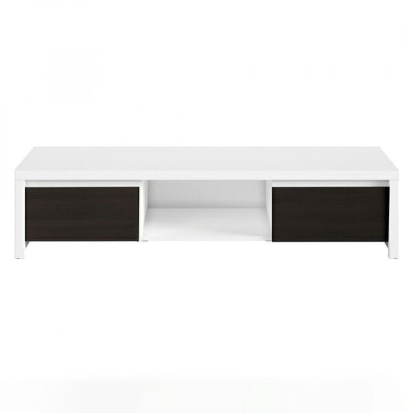 ТВ шкаф с бял корпус и чекмеджета венге Каспиан Венге - отпред