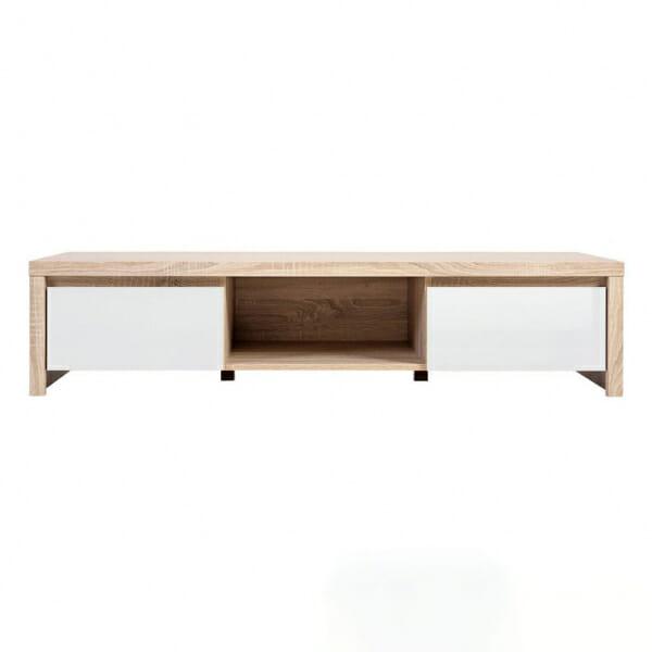 ТВ шкаф с чекмеджета в бял гланц и корпус дъб сонома Каспиан Дъб