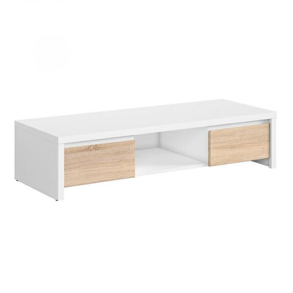 ТВ шкаф с чекмеджета в дъб сонома и бял корпус Каспиан Дъб