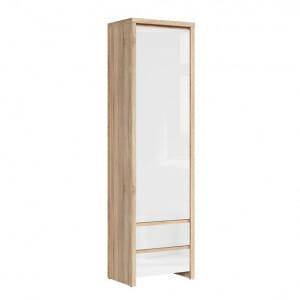 Висок шкаф с вратичка Каспиан Дъб сонома с бял гланц