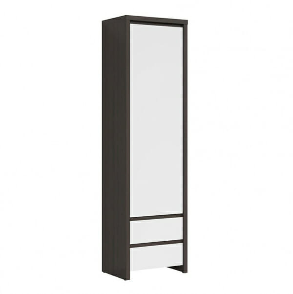 Висок шкаф с вратичка Каспиан Венге с бял гланц