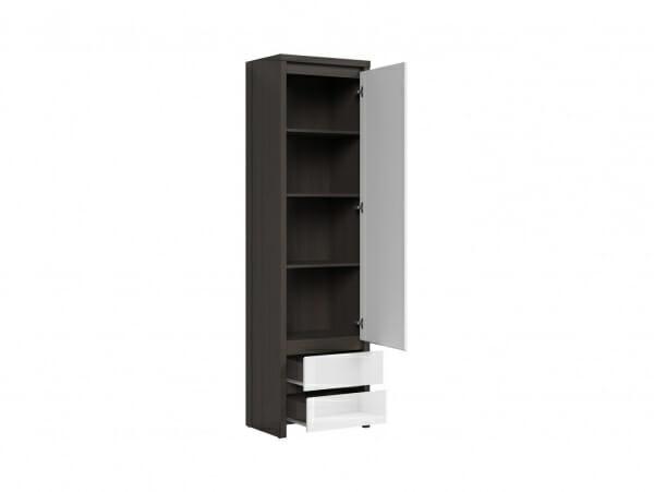 Висок шкаф с вратичка Каспиан Венге с бял гланц - разпределение десни панти