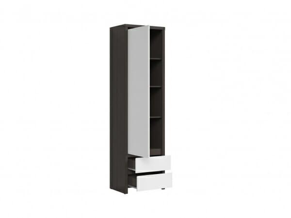 Висок шкаф с вратичка Каспиан Венге с бял гланц - разпределение лява вратичка