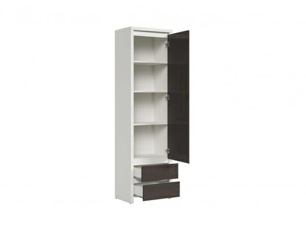 Висок шкаф с вратичка Каспиан Венге с бял корпус - разпределение дясна врата