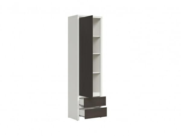 Висок шкаф с вратичка Каспиан Венге с бял корпус - разпределение лява врата