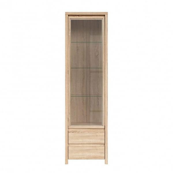 Висок шкаф витрина Каспиан Дъб сонома - отпред